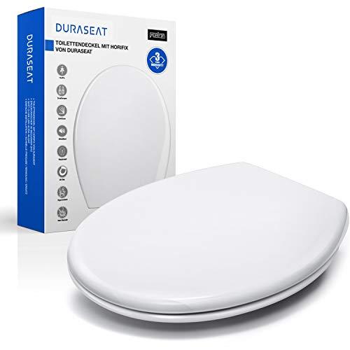 DURASEAT® DP001O Toilettensitz, Premium Toilettendeckel O-Form, Klodeckel mit Softclose Absenkautomatik, WC Sitz Antibakteriell aus PP und rostfreiem Edelstahl