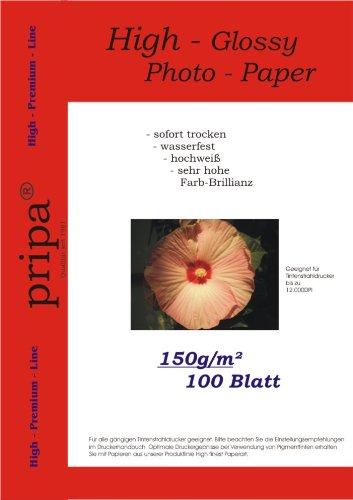 pripa 100 Blatt Fotopapier DIN A4, 150g/qm, high -Glossy glaenzend -sofort trocken -wasserfest-hochweiß-sehr hohe Farbbrillianz, Fuer Inkjet Tinten Drucker