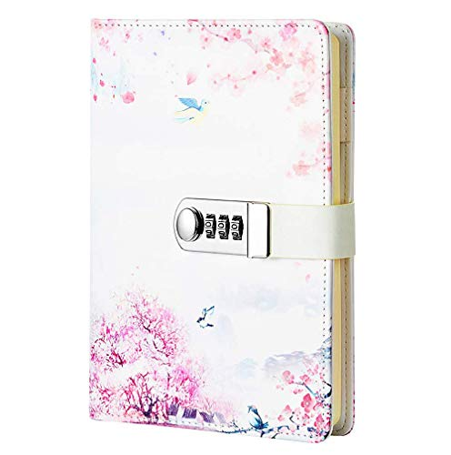 NectaRoy Bloc de Notas Contraseña Cuaderno, Cuaderno de Cuero PU Diario Planificado Organizador con Cerradura de Combinación, Soporte para Bolígrafo, 215x150mm