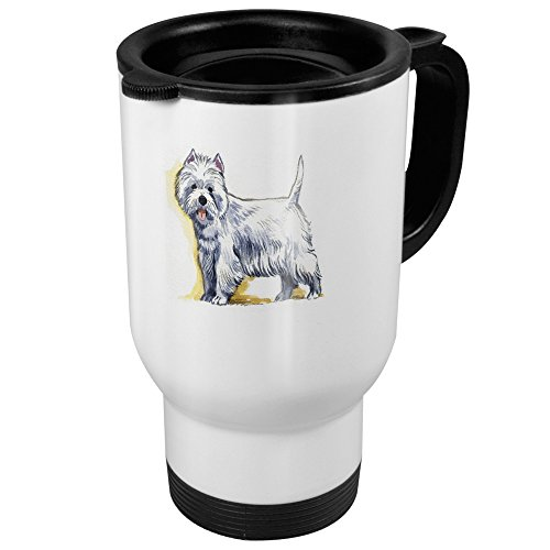printplanet Thermobecher mit Hunderasse West Highland White Terrier - Coffee to Go Becher, Thermo-Tasse, Farbe Weiß