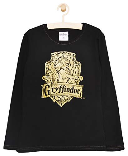 Muy bien hecho de algodón suave (160 g/m²). Camiseta de manga larga de calidad con logotipo de Hogwart y Gryffindor en impresiones adecuadas. Camiseta negra con logotipo de Gryffindor en purpurina dorada y azul con bandera de Hogwart en purpurina pla...