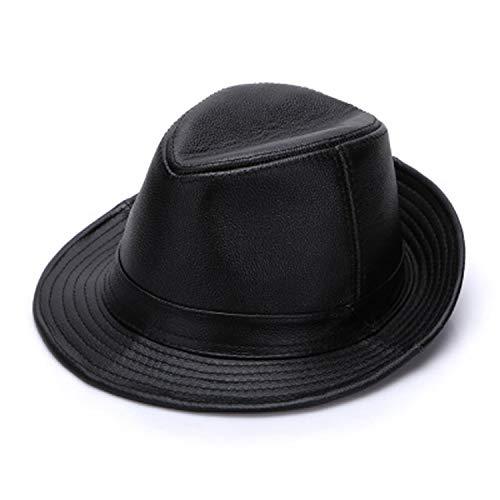 Men Faux Cowhide Leather Top Hats Autumn Winter Warm Real Cowhide Leather Caps Real Leather Fedoras Cap Black
