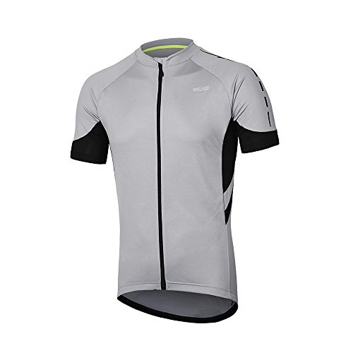 ARSUXEO Men's Short Sleeves Cycling Jersey Bicycle MTB Bike Shirt 636 Light Gray Size L