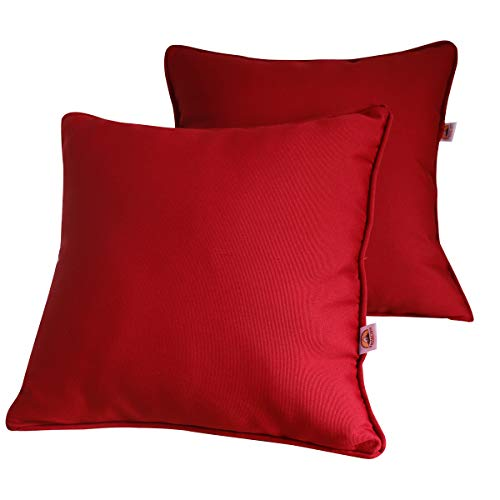 Vanteriam 2 Pack Decorative Outdoor Solid Waterproof Throw Pillow Cover with Piping, Accent Pillow case for Outdoor Patio Furniture Set, Square 18''x18'' Dark Red