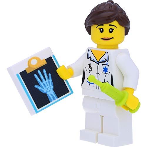LEGO 8683 Minifigur Schwester / Ärztin (Sammelfigur aus der Serie 1) mit Röntgenbild-Fliese