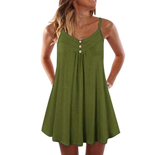iHENGH Damen Top Bluse Bequem Lässig Mode T-Shirt Blusen Frauen Sleeveless Spaghetti Strap Zweireiher Plain Shift Kleid(Armeegrün, 5XL)