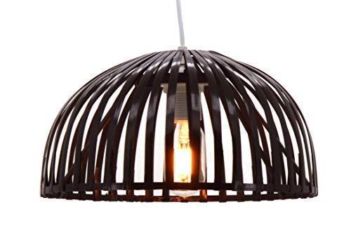 Lusiel Hanoi 30 - Lámpara de techo de bambú, 60 W, marrón, diámetro 30 x altura 16 cm