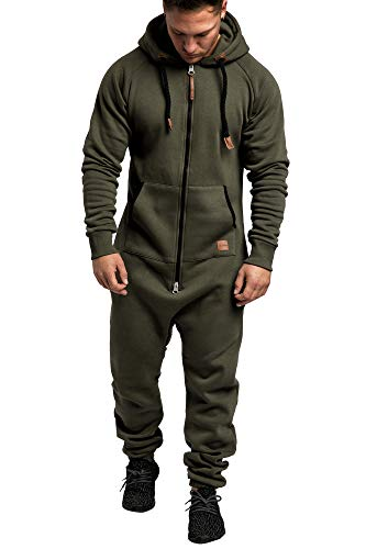 Amaci&Sons Herren Overall Jumpsuit Jogging Onesie Trainingsanzug 3007 Khaki/Schwarz L