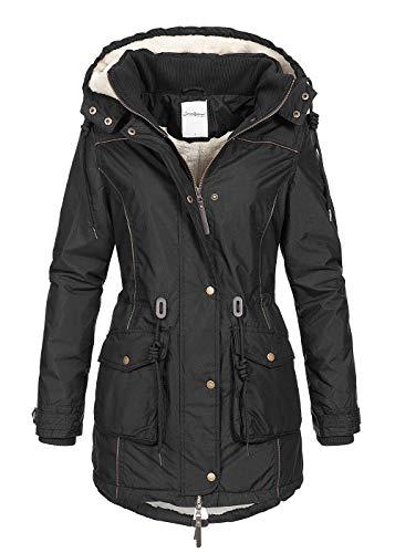 Seventyseven Lifestyle Damen Winter Parka Jacke Kapuze Teddyfell innen schwarz, Gr:XL