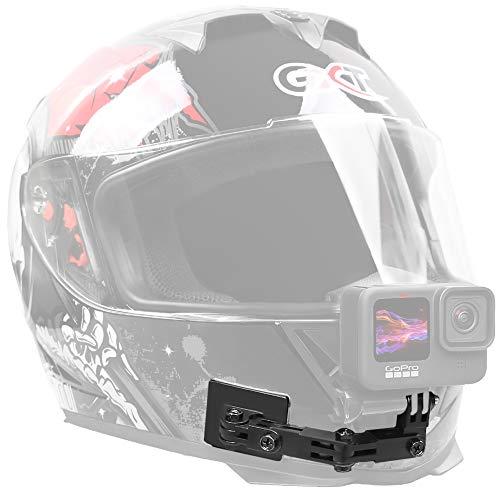 SUREWO Soporte de barbilla para casco de motocicleta de aluminio compatible con Hero 9/8/7/(2018)/6/5 negro 5/4 sesión, DJI OSMO Action, APEMAN/Crosstour/AKASO/Campark y más