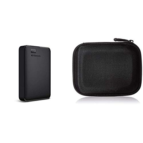 WD Elements - Disco Duro Externo portátil de 4 TB con USB 3.0, Color Negro & Amazon Basics - Funda para Disco Duro Externo, Color Negro, 13.2 x 10.5 x 3.8 cm