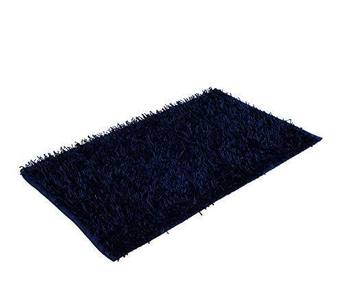 Gözze Tapis Shaggy Look métallique Uni 50 x 70 cm Bleu foncé
