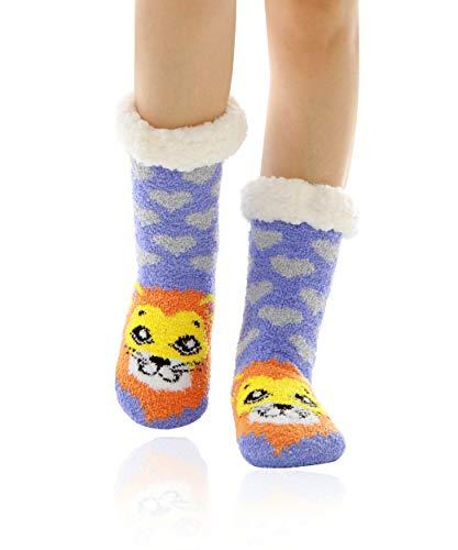 WOTENCE Mujer gruesos cachemira lana calcetines, casa abrigados calcetines, antideslizantes cómodos cálidos lindos animales calcetines borrosos