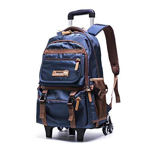 Vunce Rolrugzak, trolley met wielen, schoolboekentas, krachtige handbagage met 6 wielen, klimtrap voor studenten, uniseks, tieners, jongens meisjes, 12,6 × 6,3 × 18,5 inch, klimtas in de vrije natuur