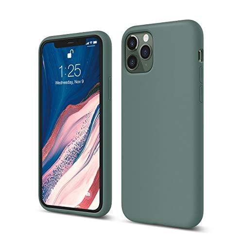 """elago Silicona Líquida Funda Compatible con iPhone 11 Pro (5.8""""), Silicona Premium, Protección Funda Protectora 3 Tapas Estructura (Verde Noche)"""