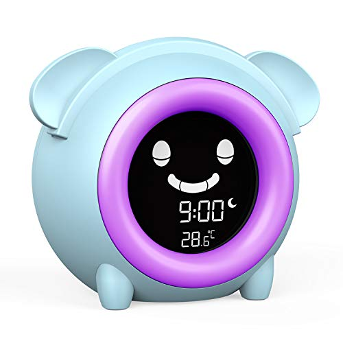 USAOSHOP Alarm Clock for Kids Cute Digital Clock with Temperature Children's Sleep Trainer Clocks 5-Color Changeable Night Light 5 Alarm Rings Nap Timer Teach Girls Boys Time to Wake Up
