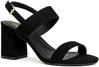 Qupid Capsule Heels for Women - Ankle Sling Open Toe Chunky Block Heel