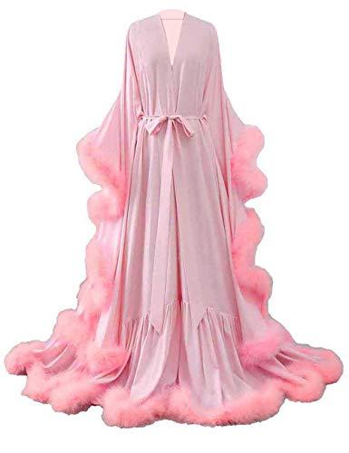 yinyyinhs Damen Feder Braut Robe Hochzeit Schal Lange Dessous Robe Nachthemd Bademantel Nachtwäsche mit Gürtel Erröten-Erröten Feder 38-44(Groß/X-Groß)