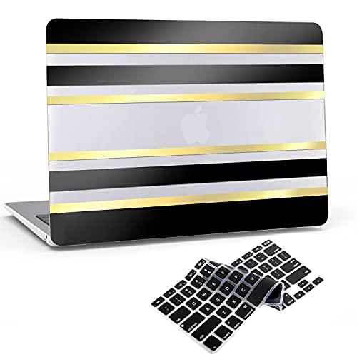 JGOO Custodia per MacBook PRO 13 Pollici 2020-2016 Versione A2338 M1 A2289 A2251 A2159 A1989 A1706 A1708, 3D Stripes Guscio Rigido in Plastica Nera Lucida Oro + Cover per Tastiera per Mac PRO 13