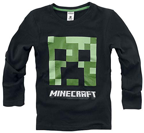 Minecraft Creeper Langarmshirt schwarz 116 100% Baumwolle Bösewichte, Fan-Merch, Gaming