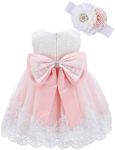 Bow Dream Baby Flower Girl Dresses Lace Bowknot Wedding Pageant Formal Tutu Gown Blush Pink product image