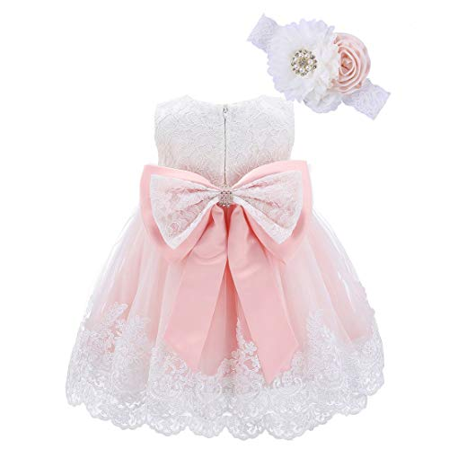 Bow Dream Baby Flower Girl Dresses Lace Bowknot Wedding Pageant Formal Tutu Gown Blush Pink 12-18 Months