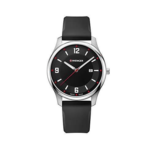 Wenger Hombre City Active - Reloj de Acero Inoxidable/Cuero de Cuarzo analógico de fabricación Suiza 01.1441.109
