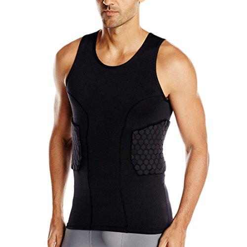 DGYAO Men's Padded Compression Shirt Training Vest(3-Pad) Sleeveless T-Shirt and Short Set Ribs, Back,Thighs and Buttocks Elbow Knee Protector - Football Soccer Basketball Hockey Protective Gear