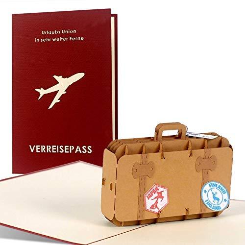 Geburtstagskarte I Gutschein I Reisegutschein z.B. für eine Fernreise oder Kreuzfahrt, Glückwunschkarte, kleines Geschenk für Sie oder Ihn für fast jeden Anlass, 3D pop up mit Koffer C15