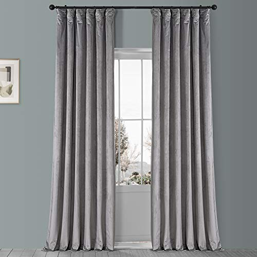 HPD Half Price Drapes VPYC-161213-96 Plush Velvet Curtain (1 Panel), 50 X 96, Destiny Grey