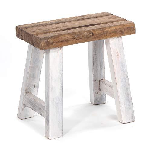 DESIGN DELIGHTS SITZHOCKER Rustic | 41x42x24 cm (HxBxT), Recycling Holz, rustikal, natürlich | Holzhocker, Unikat | Farbe: 05 weiß-Natur
