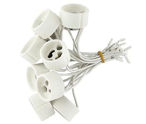 100 Set Fassung GU10 230V TOP PREIS Halogen LED Sockel Fassungen Keramik mit Kabel (100-er Set)