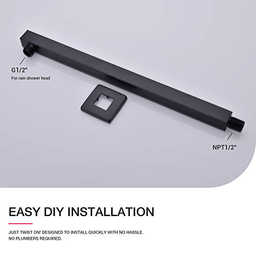 Matte Black Shower Arm with Flange 16 Inch Wall Mounted Extension Arm for Bathroom Rainfall Shower Head, Stainless Steel, Square Shaped