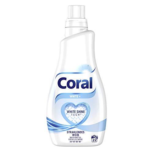 Coral Waschmittel White+ Flüssigwaschmittel für strahlendes Weiß mit Faser-Schutz-Serum 22 WL 1 Stück