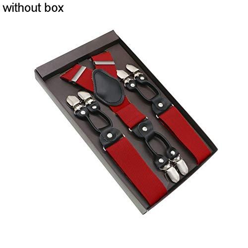 DYDONGWL Suspenders/3.5 X 120cm Mode Suspenders Echt Leer 6 Clips Brace Mannelijke Vintage Casual Bruiloft Party Broek Band Man Gift