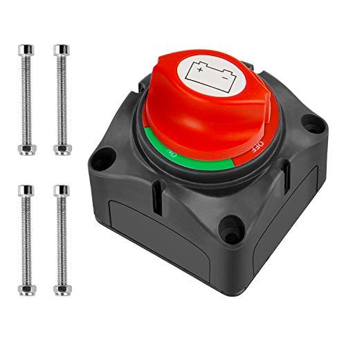 Battery Disconnect Switch 6V//12V//24V Power Isolator Cutoff Kill Switch,with Cover Solid Brass Nut Master Power Shut Off Isolator for Vehicles Marine ATV RV Boat