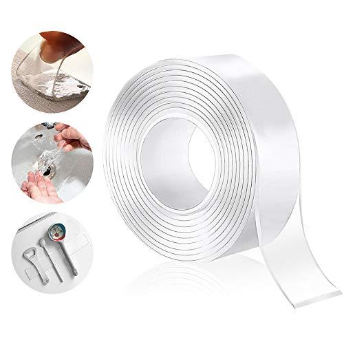 Wasbaar residuloos plakband, transparante nano tape, dubbelzijdig plakband, bestand tegen hoge temperaturen, herbruikbaar multifunctioneel plakband
