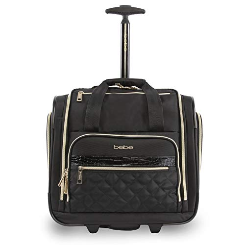 BEBE Women's Leena-Wheeled Under The Seat Carry On Bag, Black, One Size