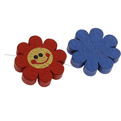 Kinder Holzperlen für Armband Kette Schnullerketten Speichelfest Bunte Mix Farben 18x18mm Blumen mit Smiley-Gesicht Motiv H-H136