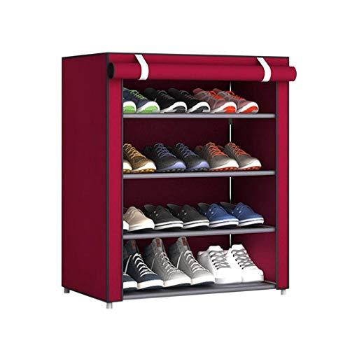 Zapateros Estante casero ajustable de múltiples capas del zapato del dormitorio del gabinete portátil del zapato, tela no tejida a prueba de polvo Zapateros independientes ( Color : Red , Size : M )