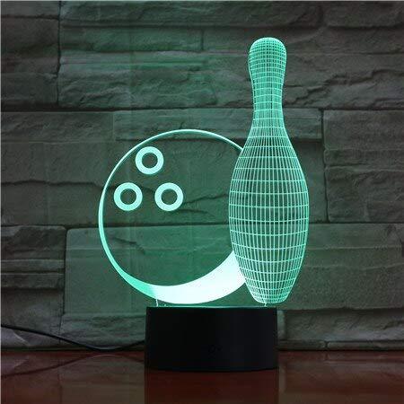 Schreibtischlampe Kinder,Kreative Bowling Form 3D Kleine Nachtlichter Sieben Farbe Touch3D Led Kleine 3D Tischleuchten Kinderzimmer Led Lampe