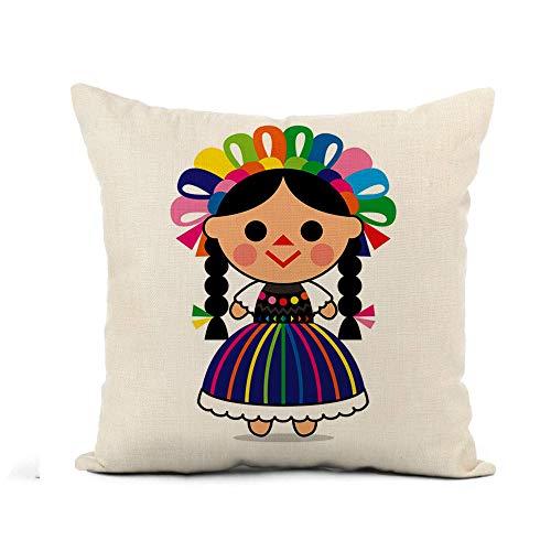 NA Throw Pillow Cover Colorful Cartoon Cute of Mexican Doll Character Dress Funda de Almohada para niños Decoración para el hogar Funda de Almohada de Lino de algodón Cuadrada Funda de cojín
