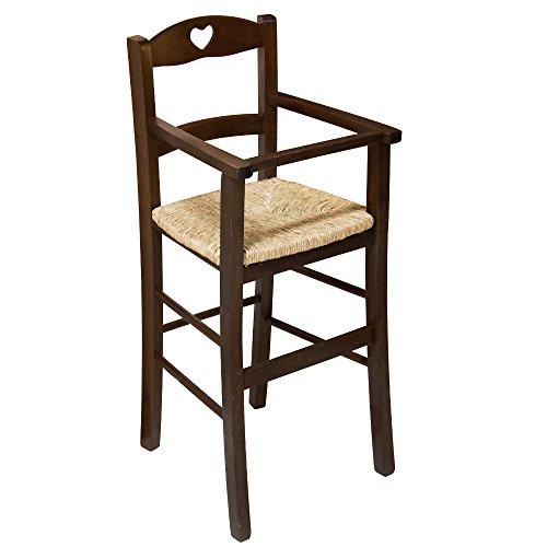 Sedia sgabello seggiolone sediolone bimbo legno massello paglia ristorante F2060