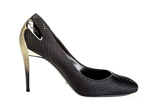 "Baldinini 6414 Italian Designer 4"" High Gold Plated Heel Piton Leather Round Toe Black"