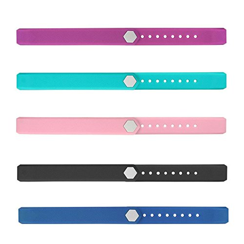 REDGO ID115 ID 115 115HR Replaceable Strap Length Adjustable for Smart Bracelet Fitness Tracker, Set of 5, Black/Purple/Teal/Pink/Blue