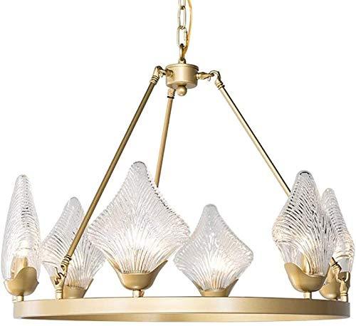AXWT Chandelier Decoración de Estilo Europeo de la Sala de la lámpara de Cristal Pantalla Comedor Luces LED Colgante G9 * 6 Salón Lámpara Colgante con la Fuente de luz Accesorios 30W