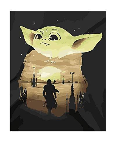 Pintar por numeros Adultos Bebe Yoda - Cuadros para Pintar por números con Pinceles y Colores Brillantes - Lienzo con numeros Dibujados para Adultos - Sin Marco