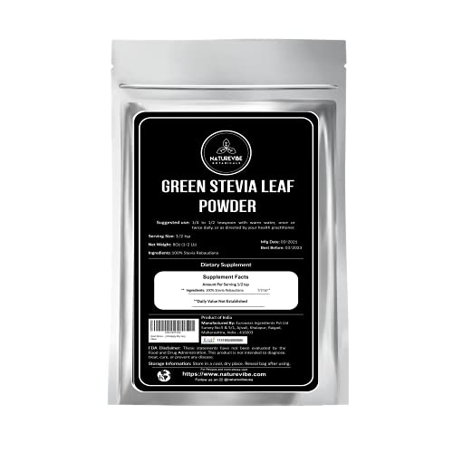 Green Stevia Leaf Powder (1/2 lb) by Naturevibe Botanicals | Raw | (8 Ounces) [Packaging May Vary]