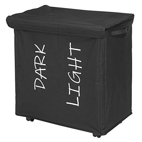 mDesign - Wassorteerder - dubbele wasmand - voor badkamer of slaapkamer - met 2 vakken/verwijderbaar deksel/op wielen/polyester handvatten/opvouwbaar/met print - Zwart