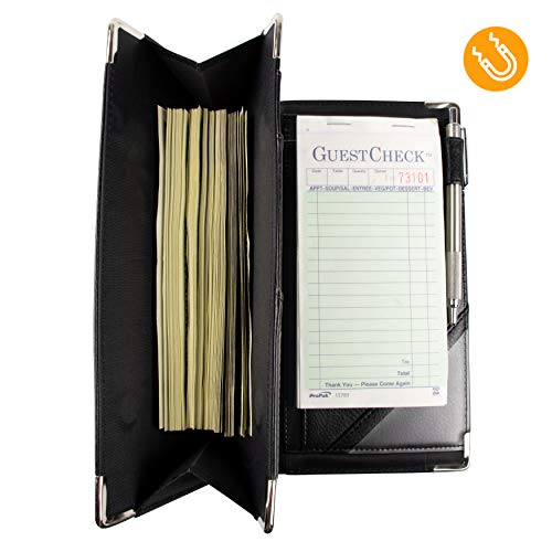 of Course High Volume Server Book for Waitress and Waiter 2 Magnetic Pockets with Zipper 2 Pen Holders Luxury Vegan Leather Organizer Wallet | Fits Aprons (Black, 9x5)